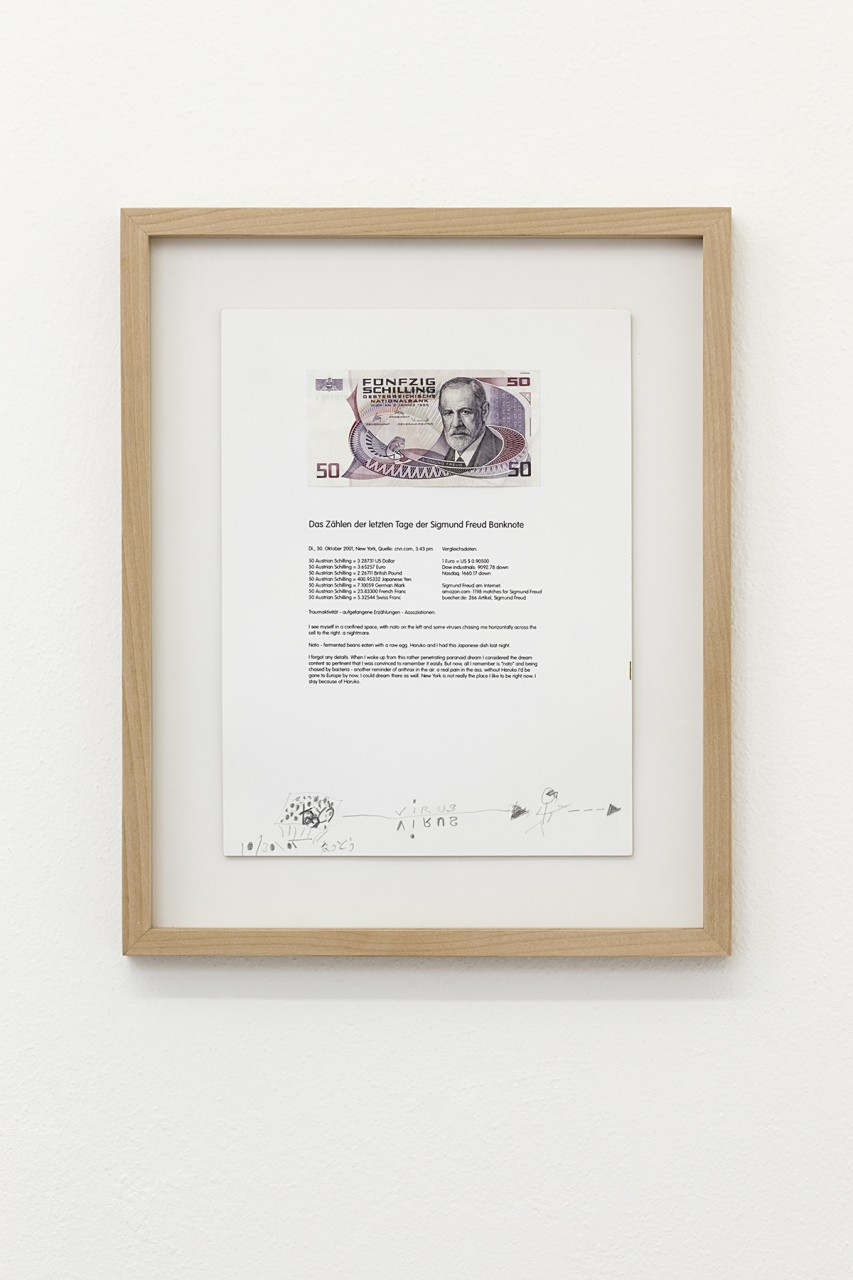 Rainer Ganahl, <i>Counting the Last Days of the Sigmund Freud Banknote, October 30</i>, 2001, banknote, print and graphite on paper, 9 x 12 cm. Courtesy of Gluck50. Ph. Andrea Rossetti