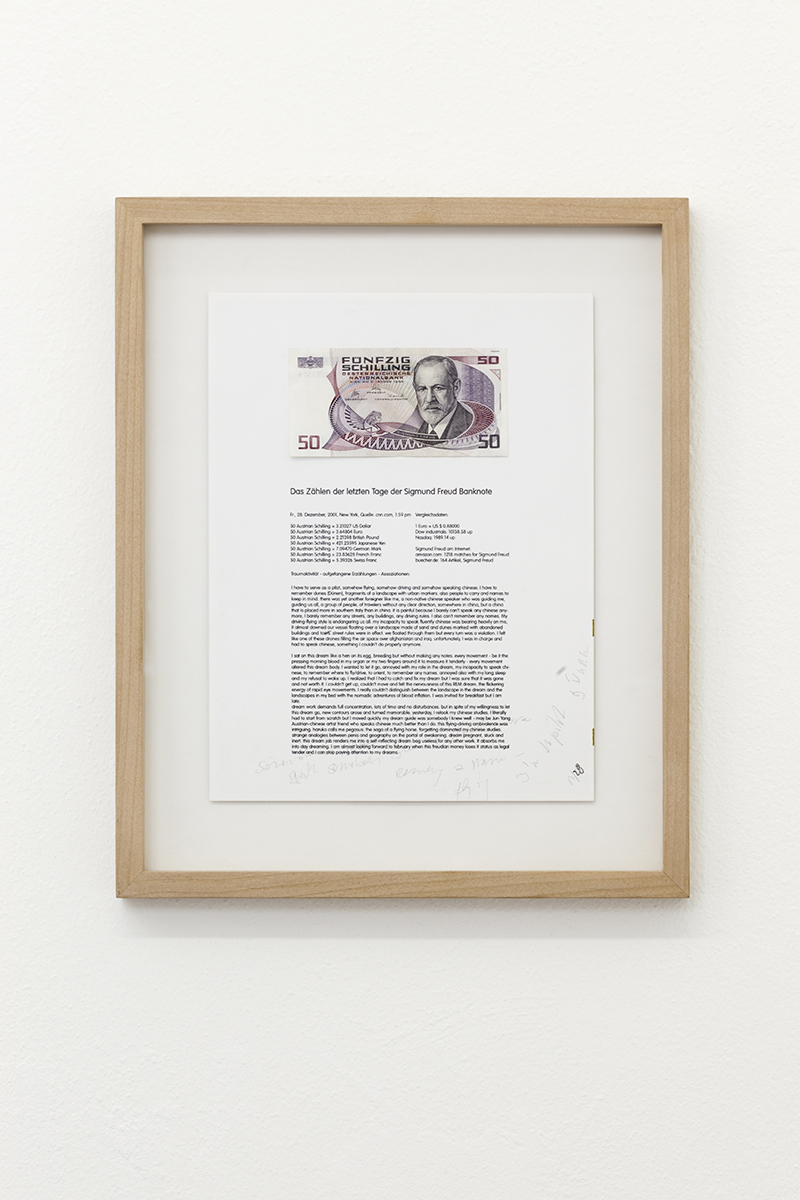 Rainer Ganahl, <i>Counting the Last Days of the Sigmund Freud Banknote, December 28</i>, 2001, banknote, print and graphite on paper, 9 x 12 cm. Courtesy of Gluck50. Ph. Andrea Rossetti