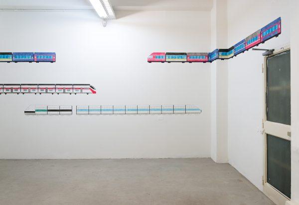Marina Pinsky 'Train mural' 2018, acrylic paint, permanent marker on wall. Courtesy the artist and Gluck50