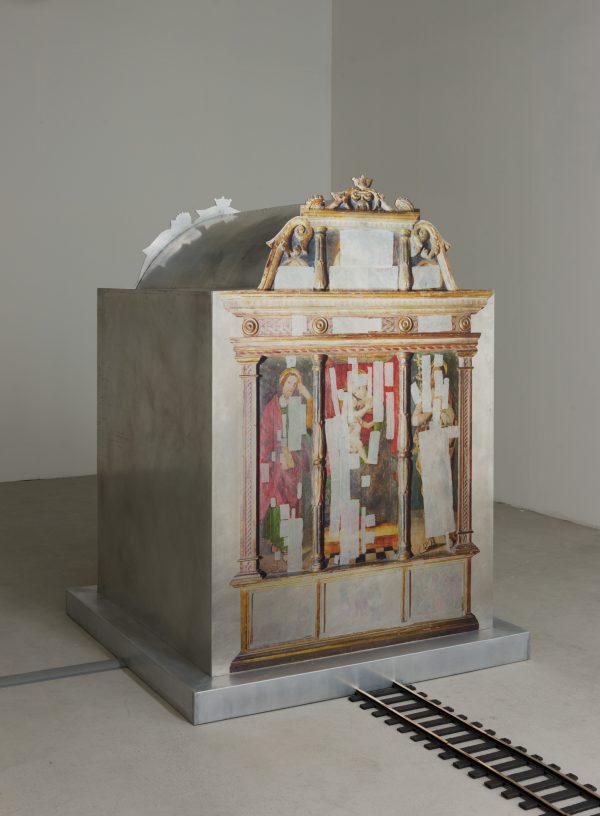 Marina Pinsky 'Altarpiece of the Maestro del Trittico di Sant'Antonio Abate' 2018, aluminum, UV print on aluminum, polyester vellum, aluminum tape, digital video file, wide-format digital projector, projector mount, mirror. Courtesy the artist and Gluck50